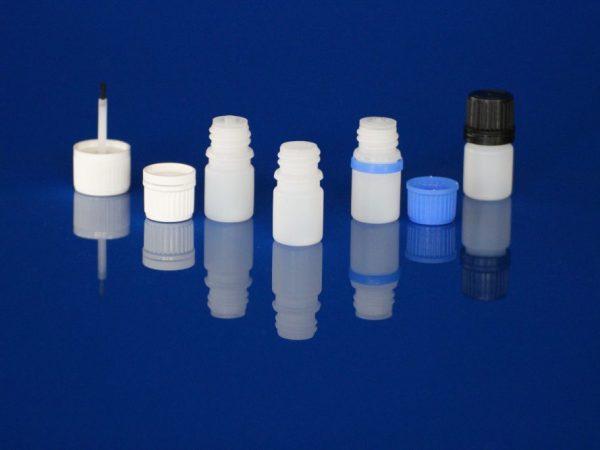 Flacon pharmaceutique PE 5 ml bague 18 din