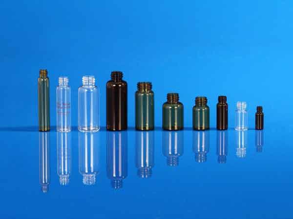 Flacons pharmaceutiques en verre étiré, bague à vis
