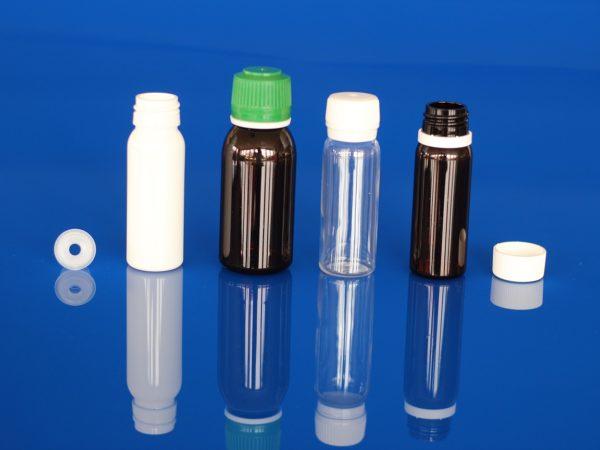Flacons pharmaceutiques monodoses, bague à vis