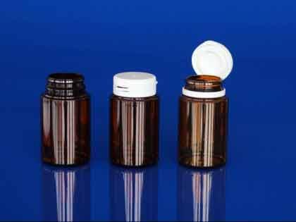 Flacons piluliers PET pharmacie, bague à encliqueter