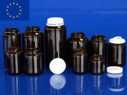 Flacons piluliers pharmacie en verre moulé, bague à encliqueter