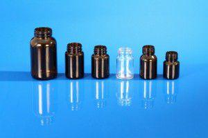 Flacons piluliers en verre