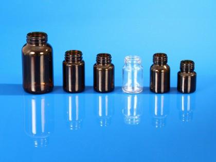 Flacons piluliers pharmacie en verre moulé, bague à vis