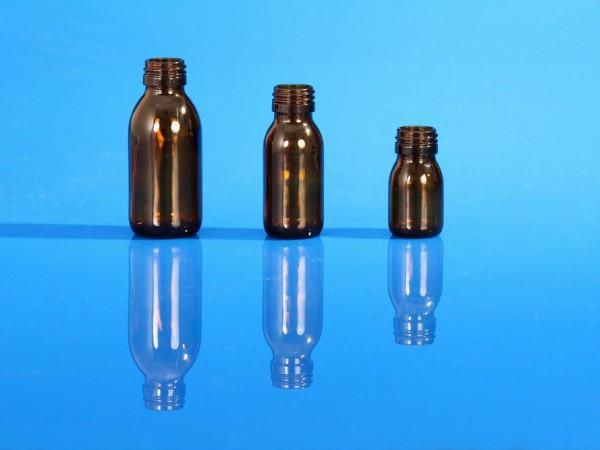 Flacons sirop pharmacie en verre moulé